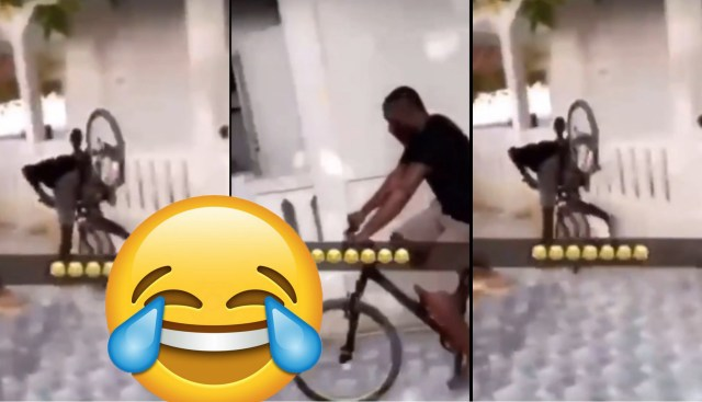 Sad Or Funny: A Biker Falls In An Opened Area, While Doing His Riding Skills