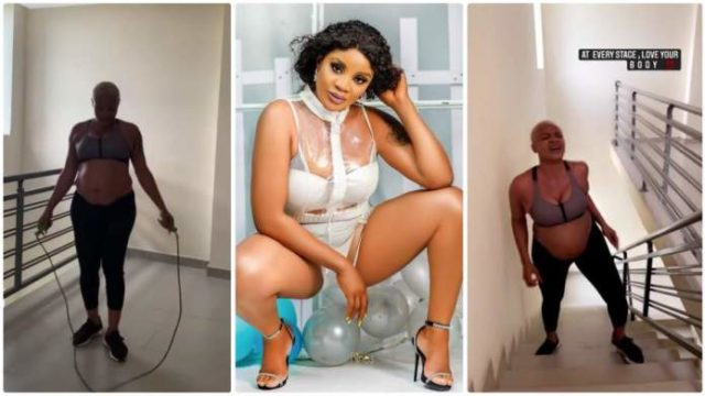 Video of Heavily pregnant Uche Ogbodo carries out intense work-out session Goes Viral [Watch Video]