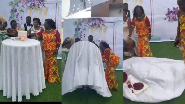 See How Couples Wedding Cake Got Scattered On The Floor While Trying To Cut It