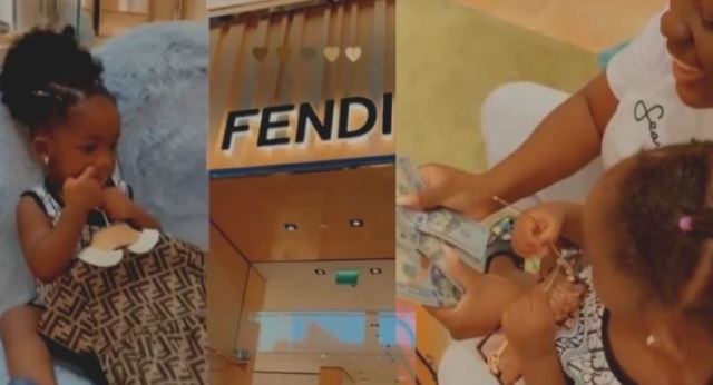 Tracey Boakye Spends Over 700$ Cash At A Fendi shop in Dubai For Her Daughter Nhyira (+Video)