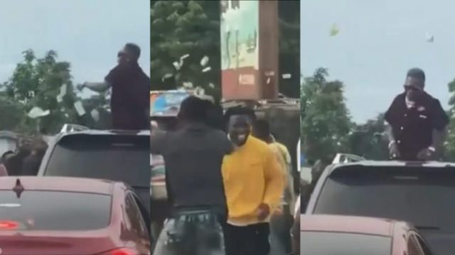 Shatta Wale Causes Traffic In The Middle Of The Road To Spray Cash On Fans Again (Watch Video)