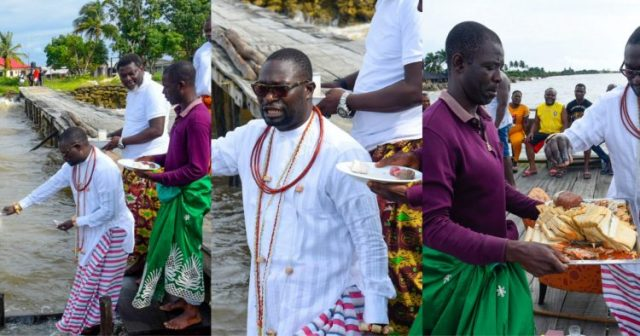 Nigerian Billionaire Goes To the river, Gives food and drinks to gods as A Sacrifice For Losing Traditional Seat (Video+Photos)