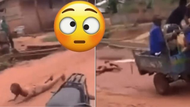 Good Or Bad?: See How A Thief Was Tied At The Back Of A Tricycle To The Police Station (Watch Video)