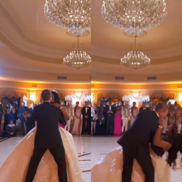 Couple suffer heavy fall at their wedding during first dance at their wedding