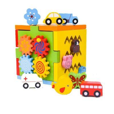 Cub lemn Montessori multifuncțional cu activități motrice