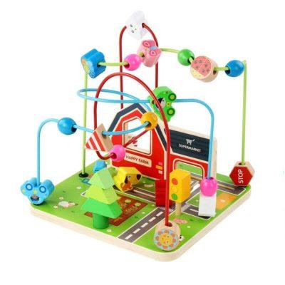 Jucărie labirint cu bile din lemn Happy Farm