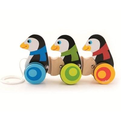 Jucărie pinguini cu sfoară și roți din lemn - Trefl
