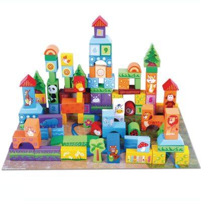 Set 100 cuburi lemn de construcție cu animăluțe