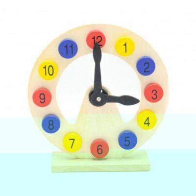 Jucărie ceas din lemn educativ