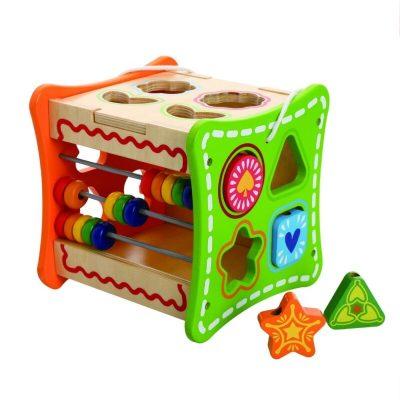 Cub educativ din lemn cu activități 5 în 1