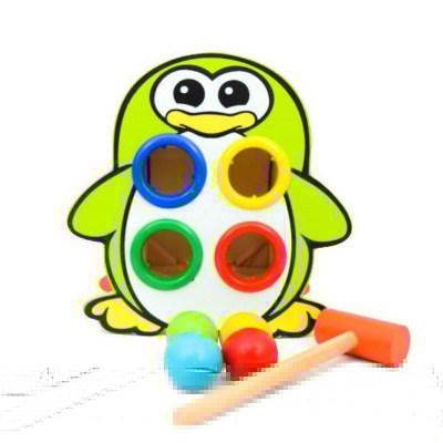 Jucărie educativă din lemn cu ciocănel și bile Pinguin