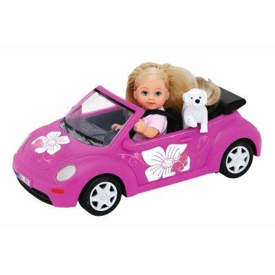 Păpușică cu mașină beetle și cățel - Evi