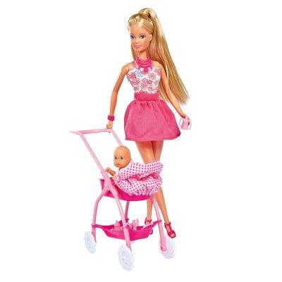 Păpușă cu cărucior roz bebeluși - Steffi Love