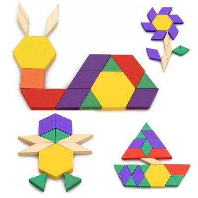 Joc Tangram cu 125 piese colorate din lemn