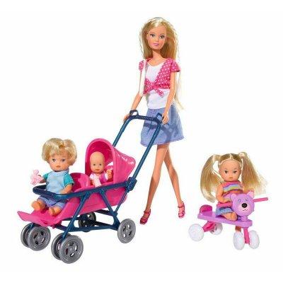 Set păpușă cu 3 bebeluși și accesorii - Steffi