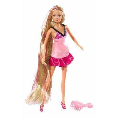 Păpușă cu păr lung și rochiță roz - Steffi
