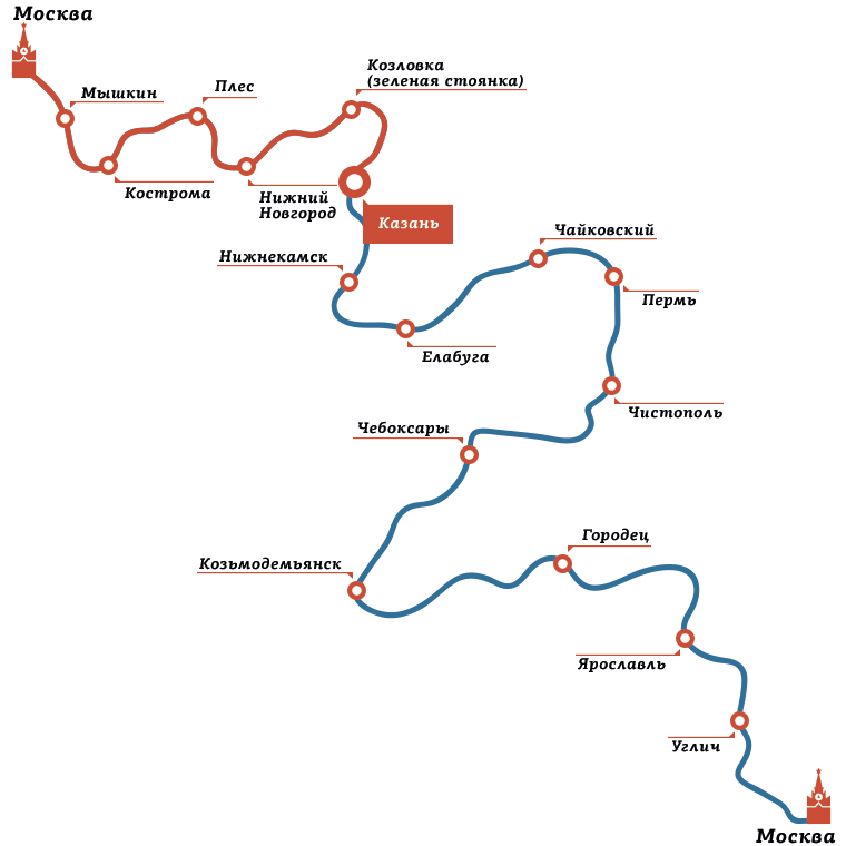 Казань москва карта