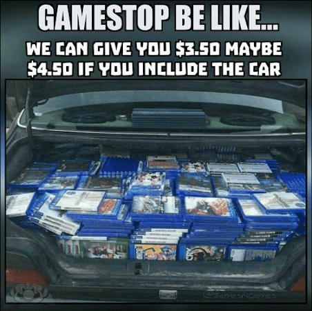 A trunk full of games to sell at GameStop