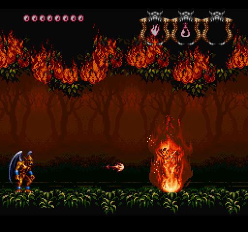 SNES Demons Crest on Nintendo Switch online firey forest