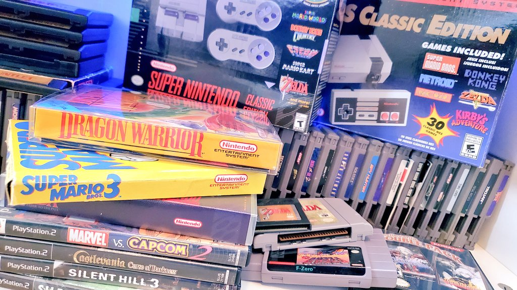 A pile of retro video games