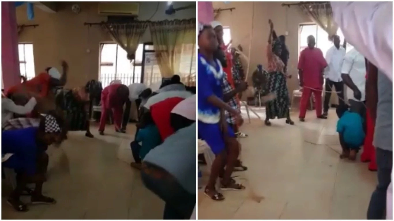 We Can't Think Far: Church Members Use Cane To Flog The Devil Massively During Church Service + Photos&Videos