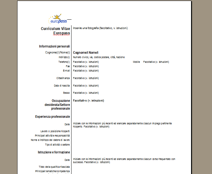 Modelo De Curriculum Vitae Europeo Italiano Resume For Dietetics