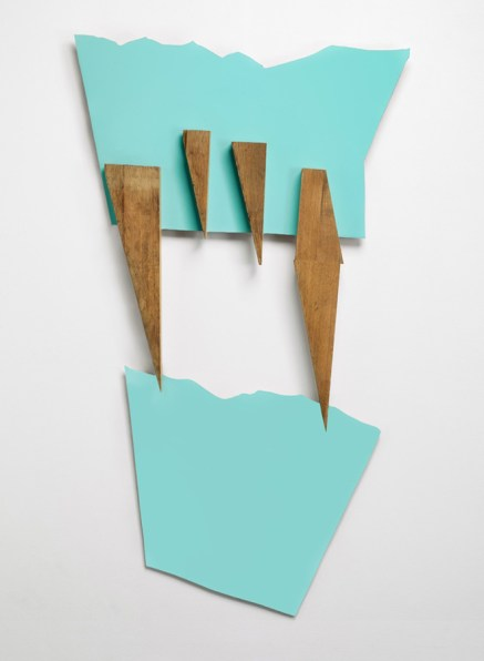 9-Sculpture frontale, 2015, Stratifié contrecollé sur contreplaqué et bois de chêne, 156 x 90 x 7 cm