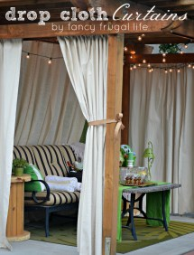 DIY Drop Cloth Patio Curtains Outdoor