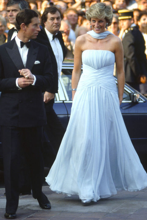 The Cannes red carpet never recovered from this all-star moment. Diana literally glowed in chiffon creation by Catherine Walker, reportedly inspired by Grace Kelly in To Catch a Thief.