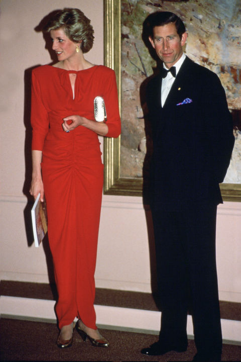In addition to Walker, Bruce Oldfield also frequently dressed Diana through the '80s. She wore this ruched number to the National Gallery in Melbourne.