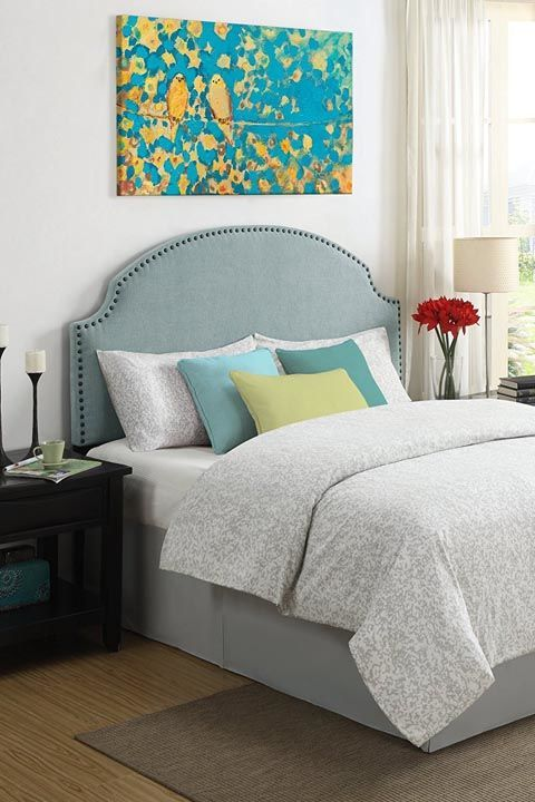 $86 BUY NOW Make even the simplest bed look lush and sleek with a wall-mounted headboard. You can even create a fun painted-on version using a wall stencil headboard.