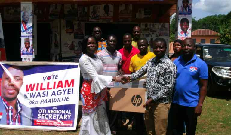 Patience Asabea Kholi donates hp laptop and printer to NPP Buem Constituency