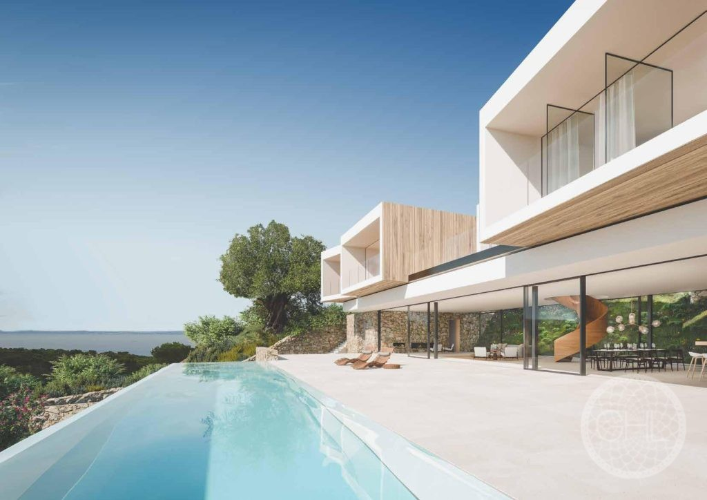 Ultra modern new villa with stunning sea and country views