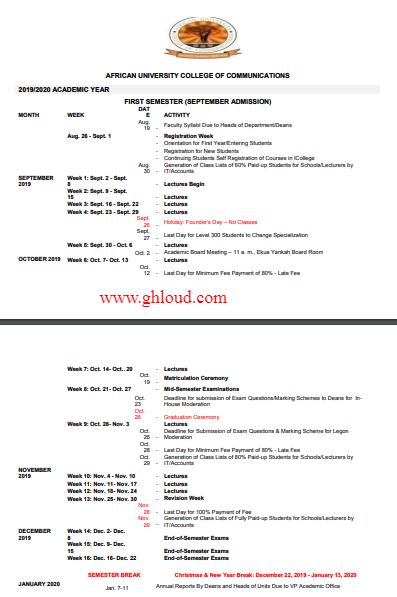 AUCC Academic Calendar