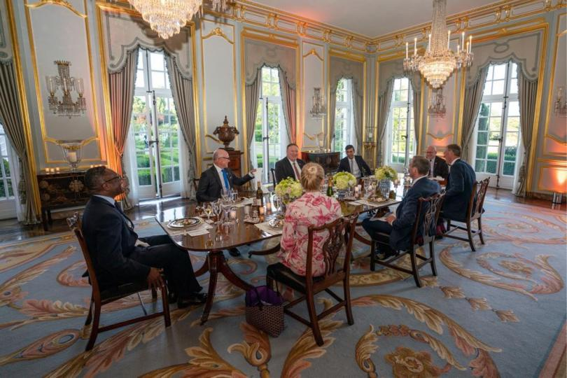 Ghanaian sits at the top of the table as US secretary of state discusses post Covid economy recovery efforts in the UK
