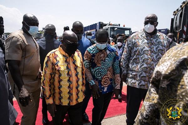 President Akufo-Addo Unveils 101 New Waste Management Trucks & 25 Disinfection Trucks