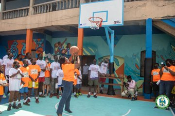 AMA, IOM outdoor newly renovated basketball court at Jamestown