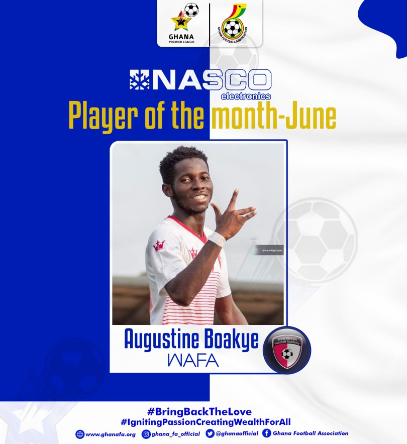 Augustine Boakye wins NASCO Gpl player of the month for June