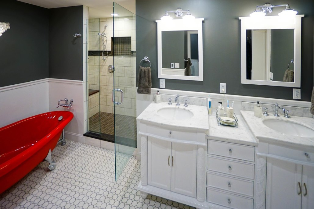 Gorgeous Red Tub Bathroom Remodel Columbus Ohio Home Improvement - Columbus bathroom remodeling