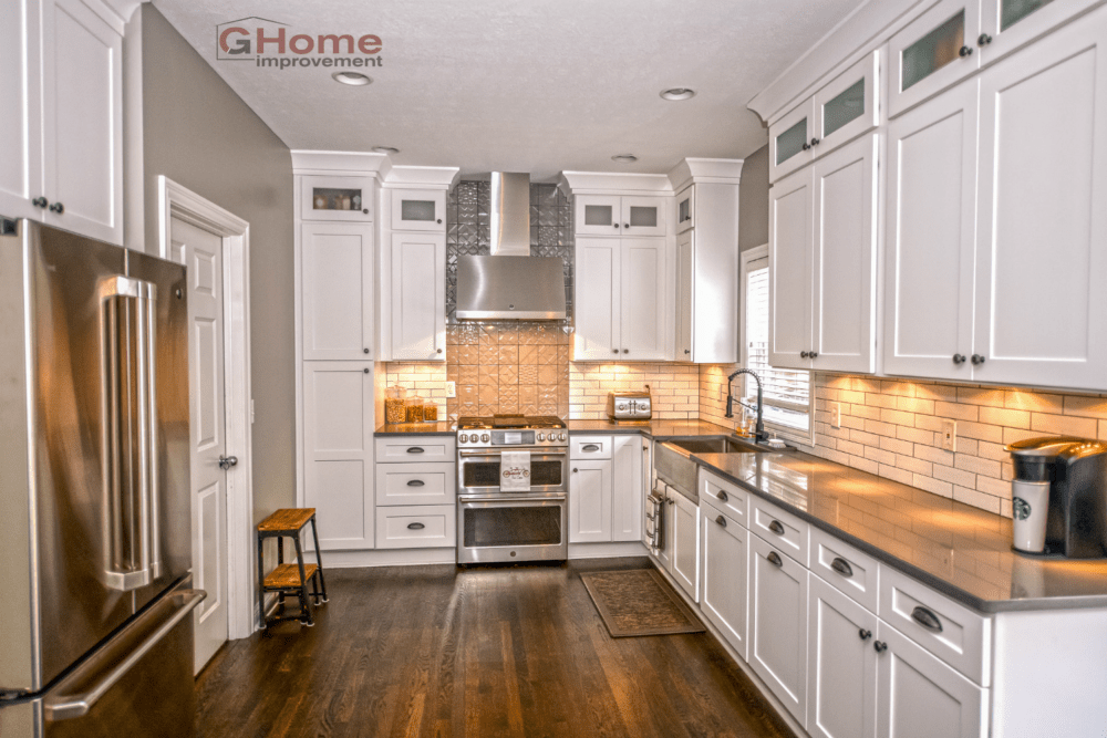 White & Grey Shaker Kitchen Cabinets & White Oak Flooring - Kitchen ...