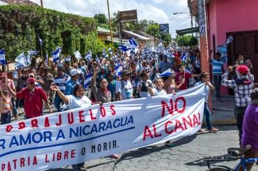 Demonstration gegen den Kanal, San Jorge, Nicaragua