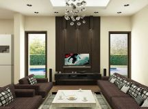 Brown Living Room with Modern Ceiling Lamps - Interior ...