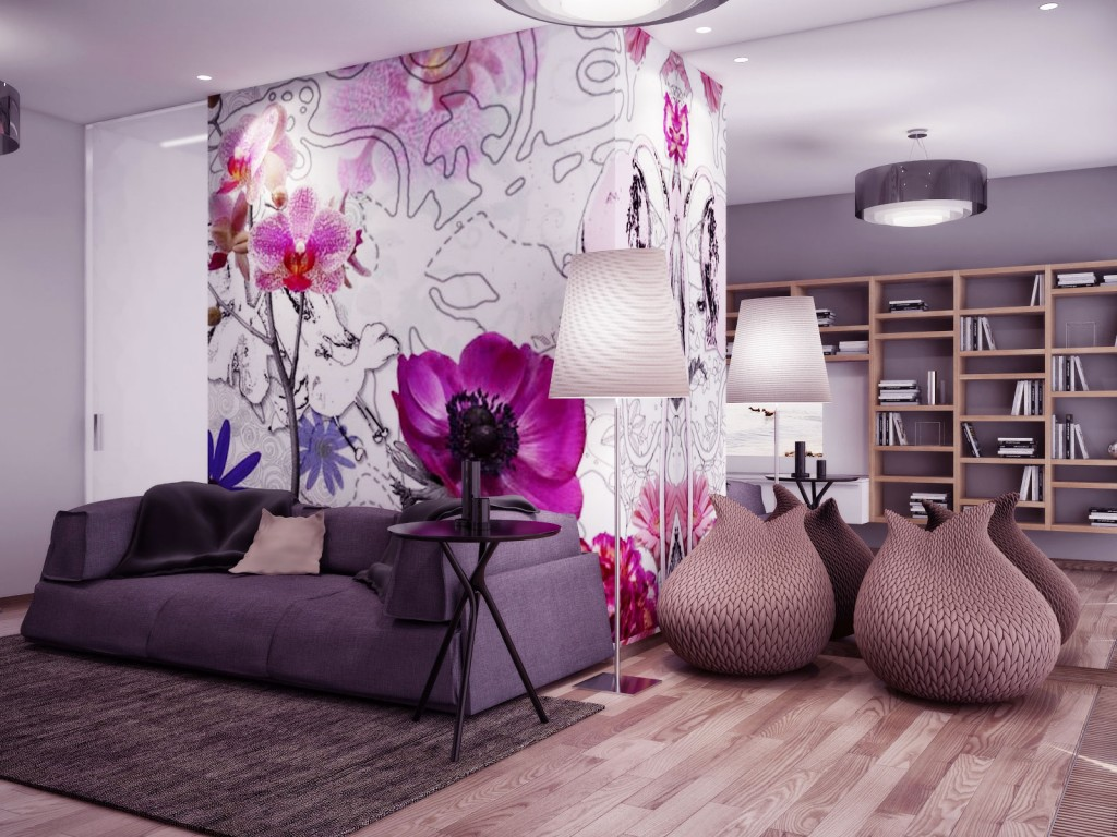 Beautiful Living Room With Gray Sofa And Pink Flower Wall