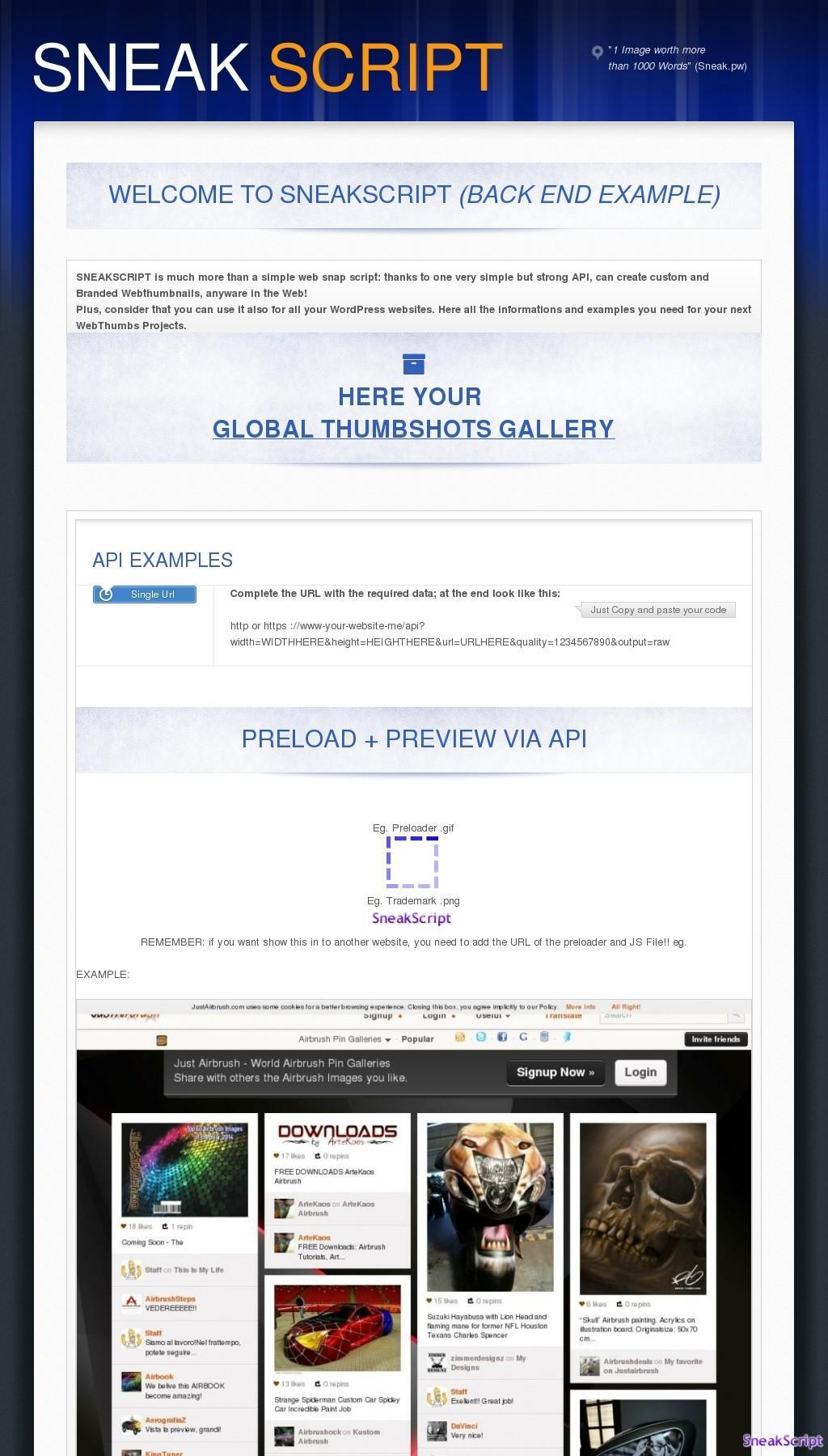 SneakScript YOUR OWN Web Thumbnail platform