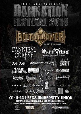Damnation Festival 2014, final line up poster
