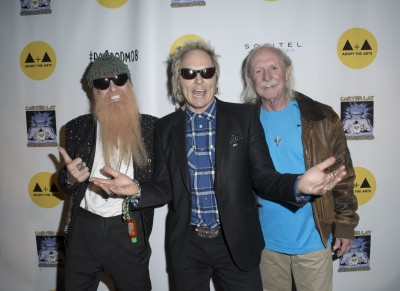 ADOPT THE ARTS honorees Billy Gibbons and Butch Trucks with Co-Founder Matt Sorum. Photo credit: Charlie Steffens.