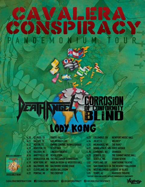 cavalera conspiracy death angel coc blind lody kong tour 2015