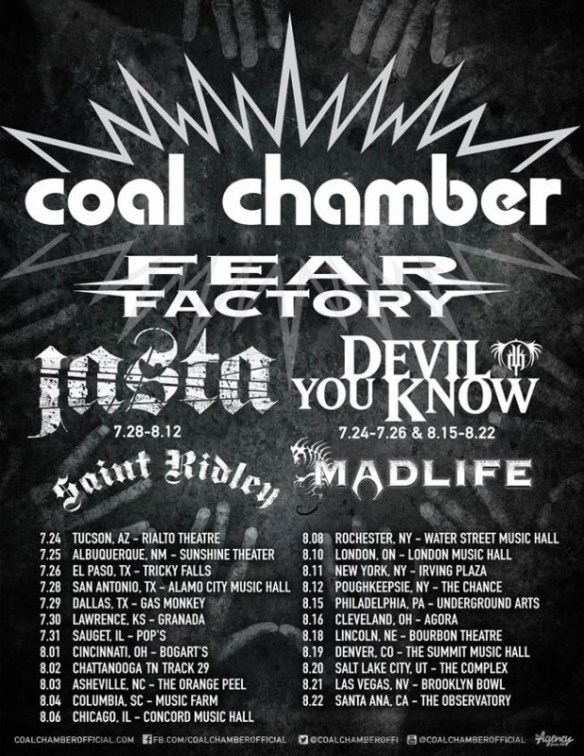 coal chamber fear factory jasta devil you know saint ridley madlife tour