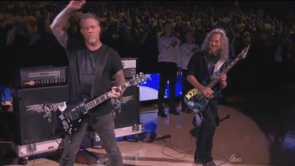 Metallica, at the NBA finals. Photo courtesy of ABC.