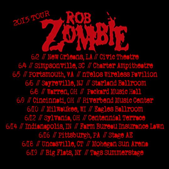rob zombie tour poster 2015